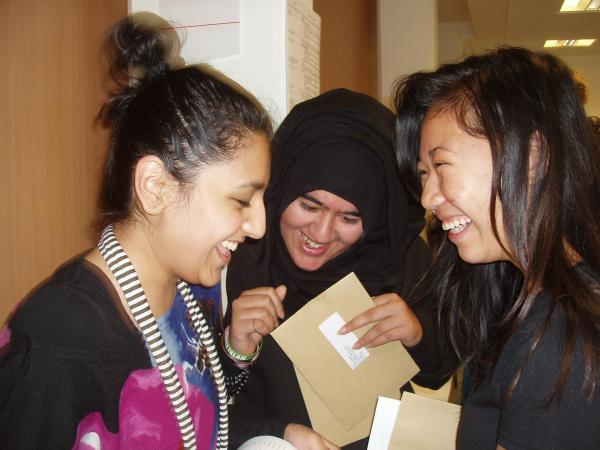 Pupils at Norbury Manor Business and Enterprise College learn their results