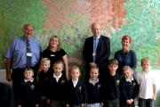 Mr Clive Smitheram, Chair of Governors; Mrs Mia Bennett, Headteacher; Mr Chris Grayling, MP; Ms Becci Kenning, Artist