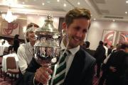 Pleased as punch: Teddington captain James Keightley with the Middlesex County League Premier Division trophy