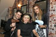 Dennie Smith (centre) with hair stylists Michael Betts and Celine Vani