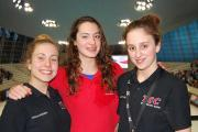 Good experience: Teddington swimmers Thalia Poaros, Sophie Fussell and Anna Smail