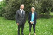 Congrats: Dominic Raab with headteacher Anne Cooper