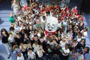 Good fun: Royal Catholic Primary School children with Mister Maker and Mr Pritt