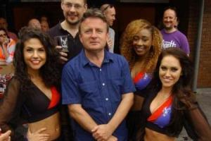 Cronx brewer Mark Russell and former Palace co-owner Stephen Browett with the Crystals at the festival in 2014