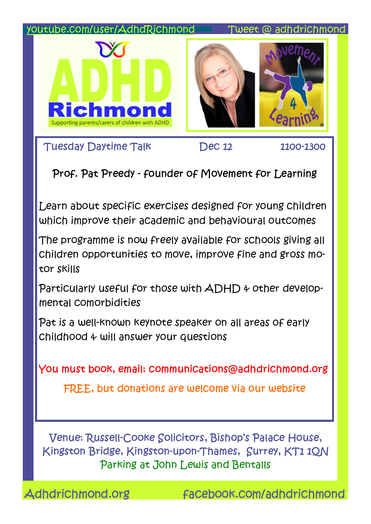 ADHD Richmond free daytime Talk on Early Years ADHD & Exercise