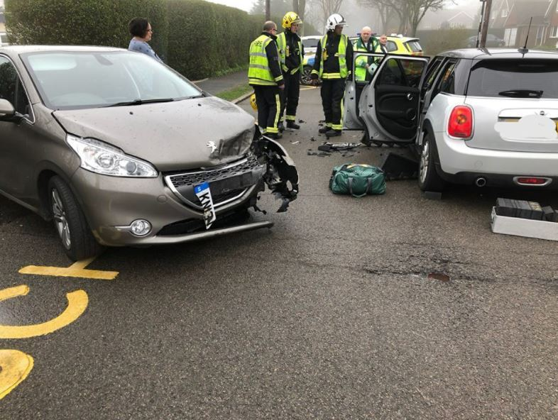 Woman suffers 'minor' injuries after crash