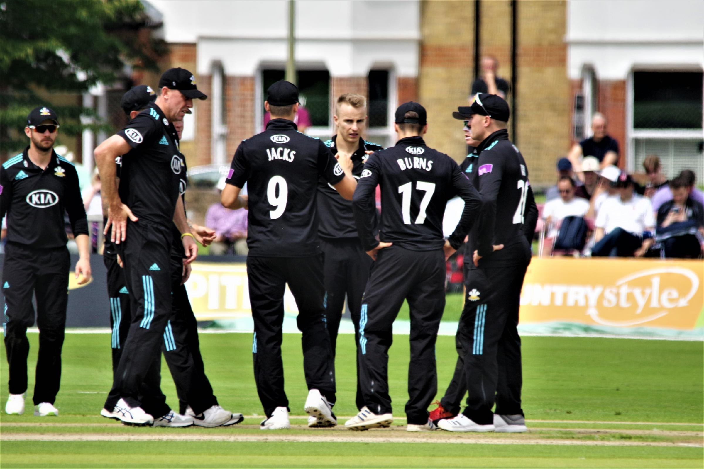 Surrey celebrate a wicket against Kent at Beckenham. Picture: Mark Sandom