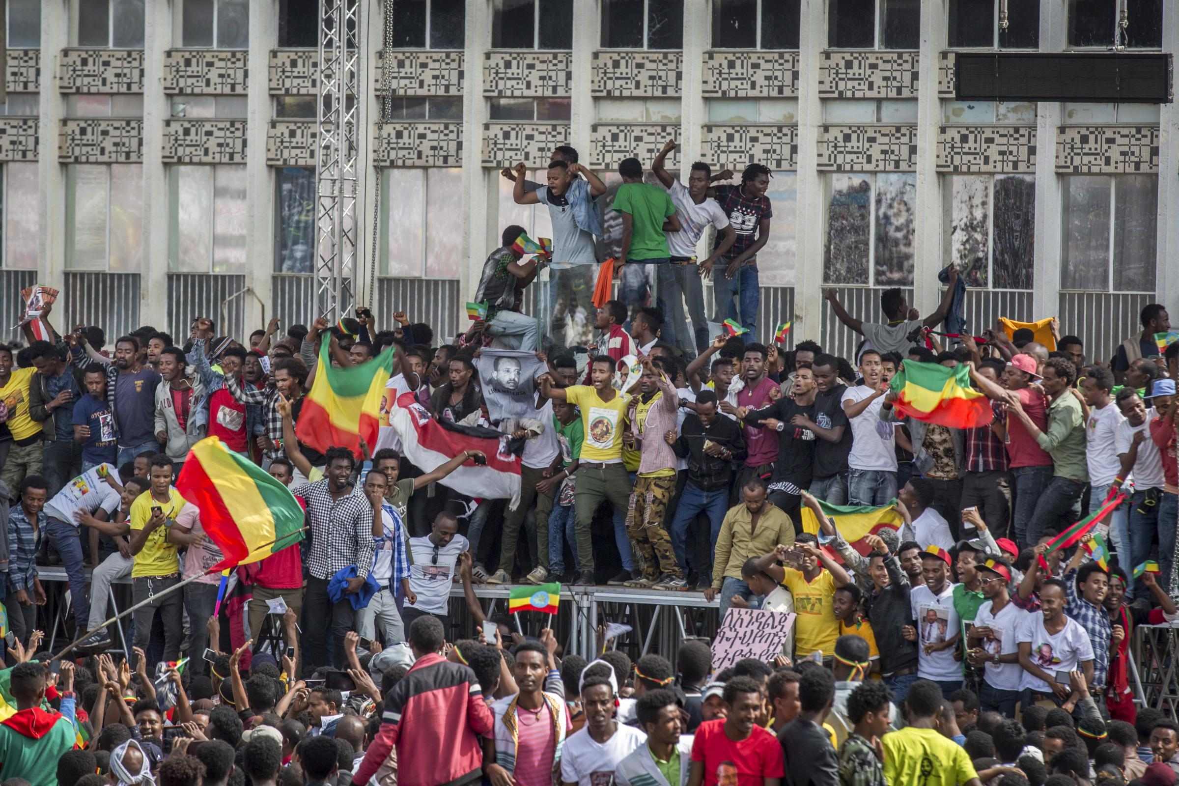 Ethiopians rally in solidarity with Prime Minister Abiy Ahmed in Meskel Square in the capital, Addis Ababa
