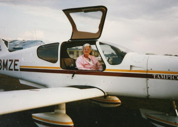 Still flying high: Monica in a friend's aircraft at Biggin Hill