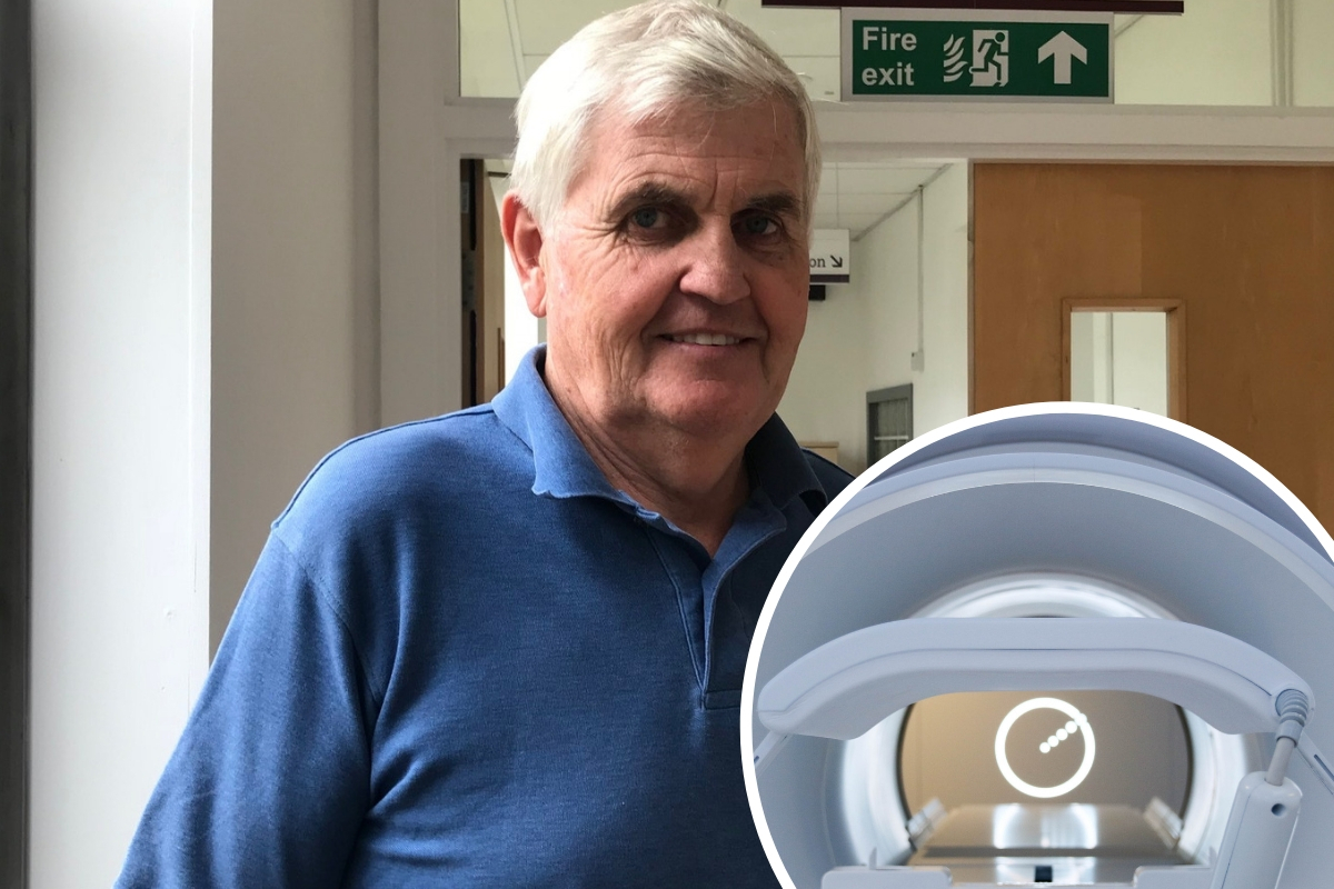 Barry Dolling and (inset) the MR Linac. Photos: the Institute for Cancer Research (ICR)